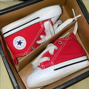 Red All star converse high tops for infants